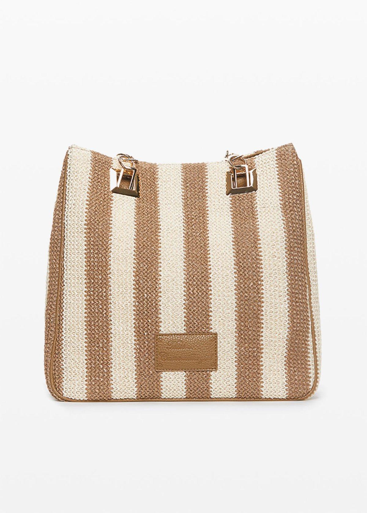 Mmissstri bag with stripes pattern - Desert / White Stripes - Woman