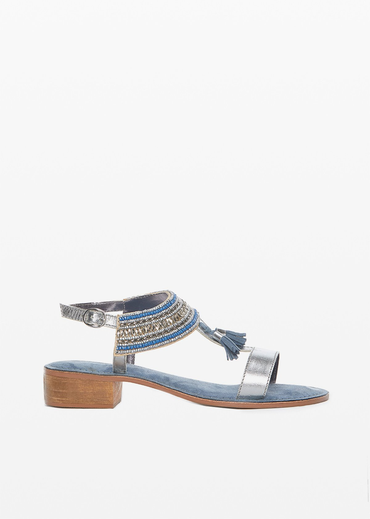 Sydney sandals with embroidery detail and suede tassels - Avion /  Silver - Woman
