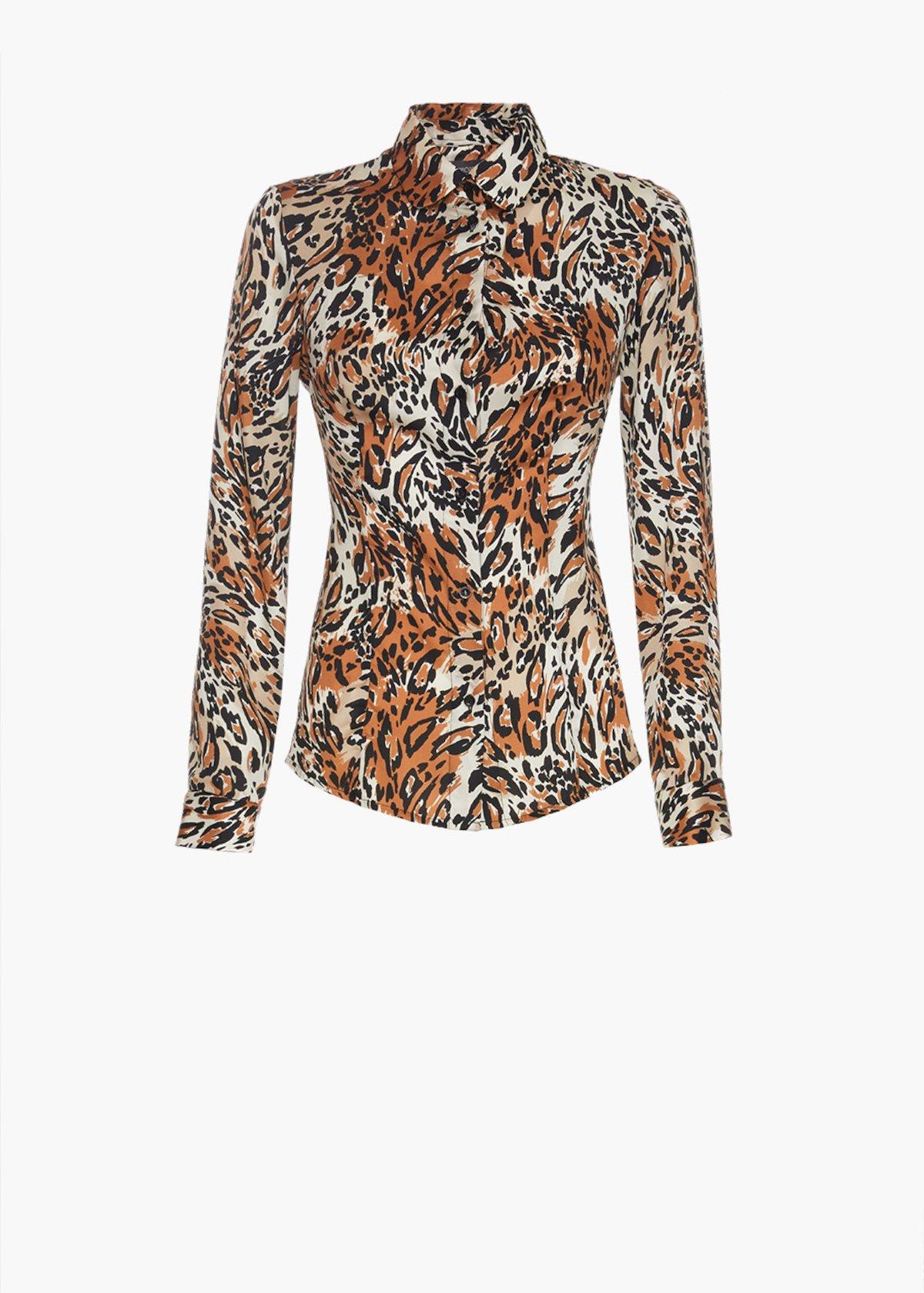 Camicia Cindy con stampa animalier - Beige Animalier - Donna