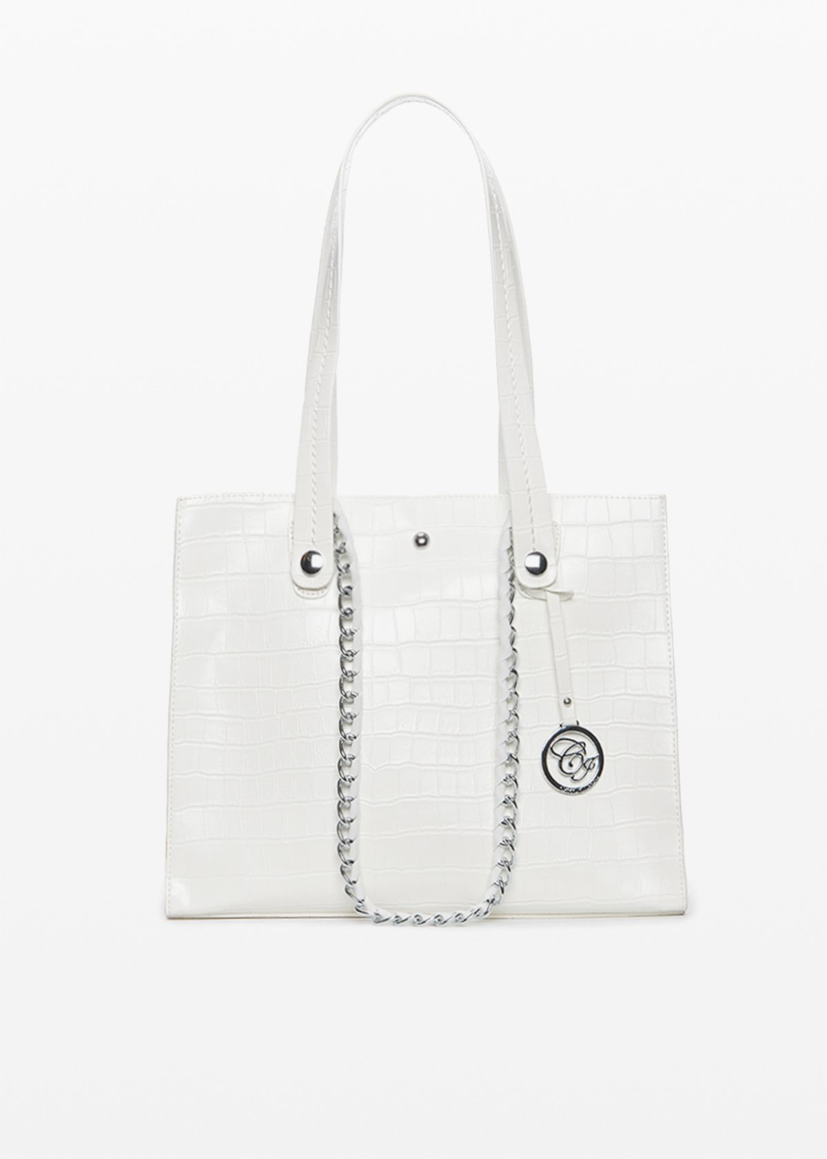Briant croco bag with double handles - White - Woman