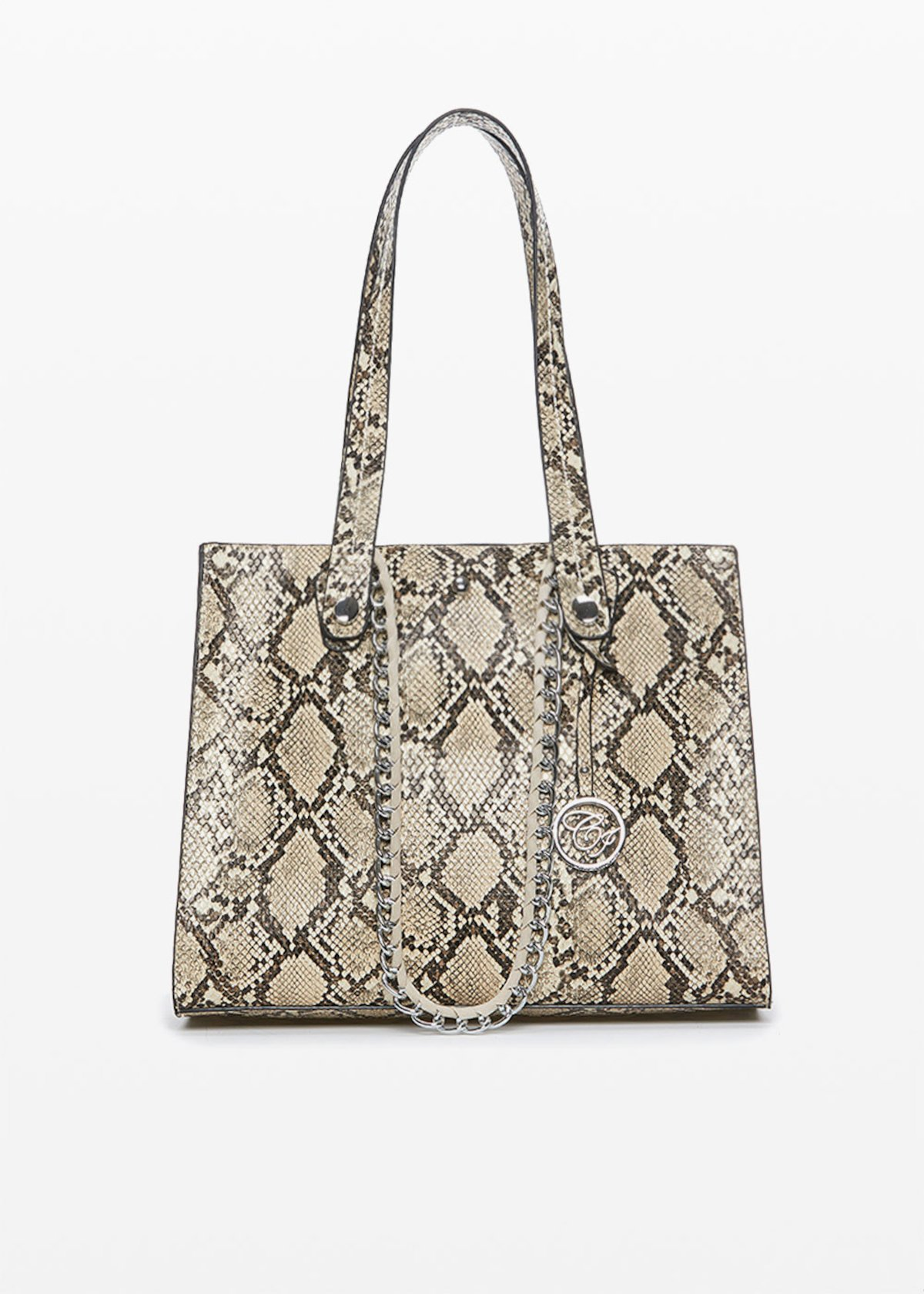 Blaky Python bag with double handles - Beige Animalier - Woman