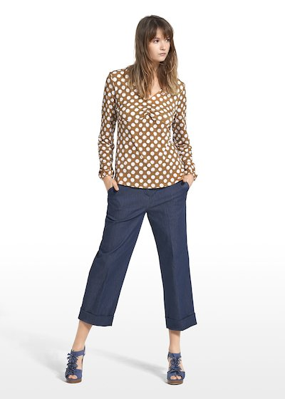 Patterned polka dot on honey-bottom sewater Susan