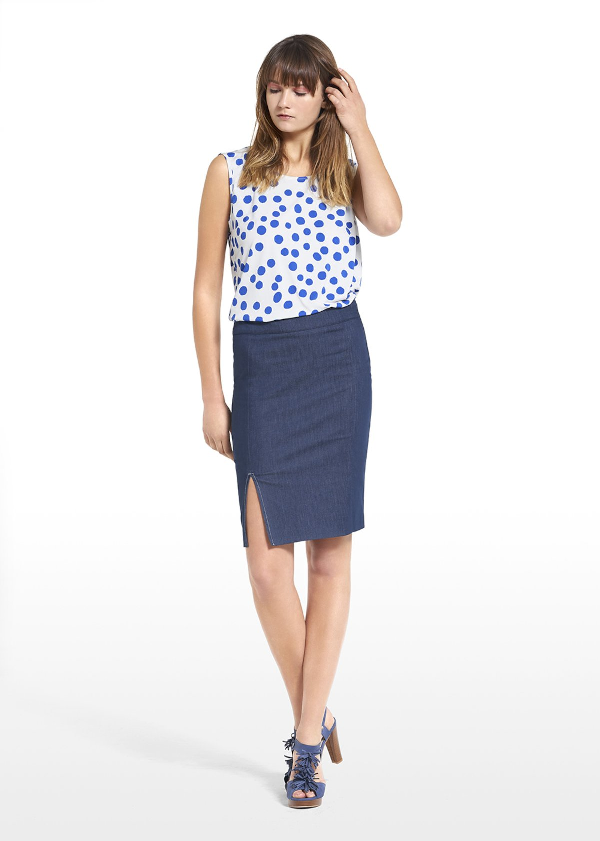 Patterned polka dot on white bottom top Tailor - White / Mineral Pois - Woman - Category image