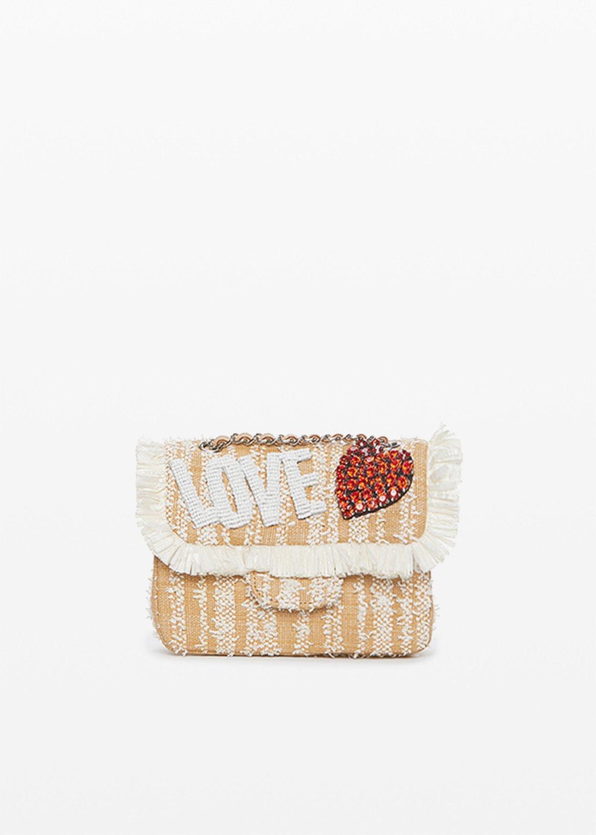 "Blove clutch bag with ""love"" lettering print - Safari / White - Woman"