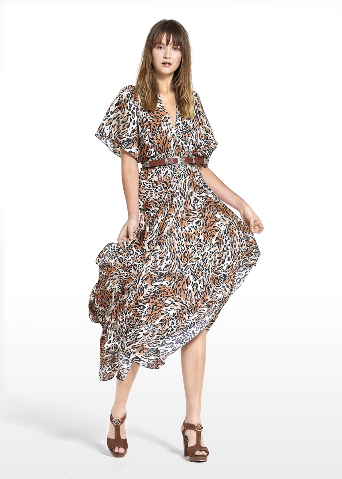 Long dress Alexis with spotted pattern - Beige Animalier - Woman