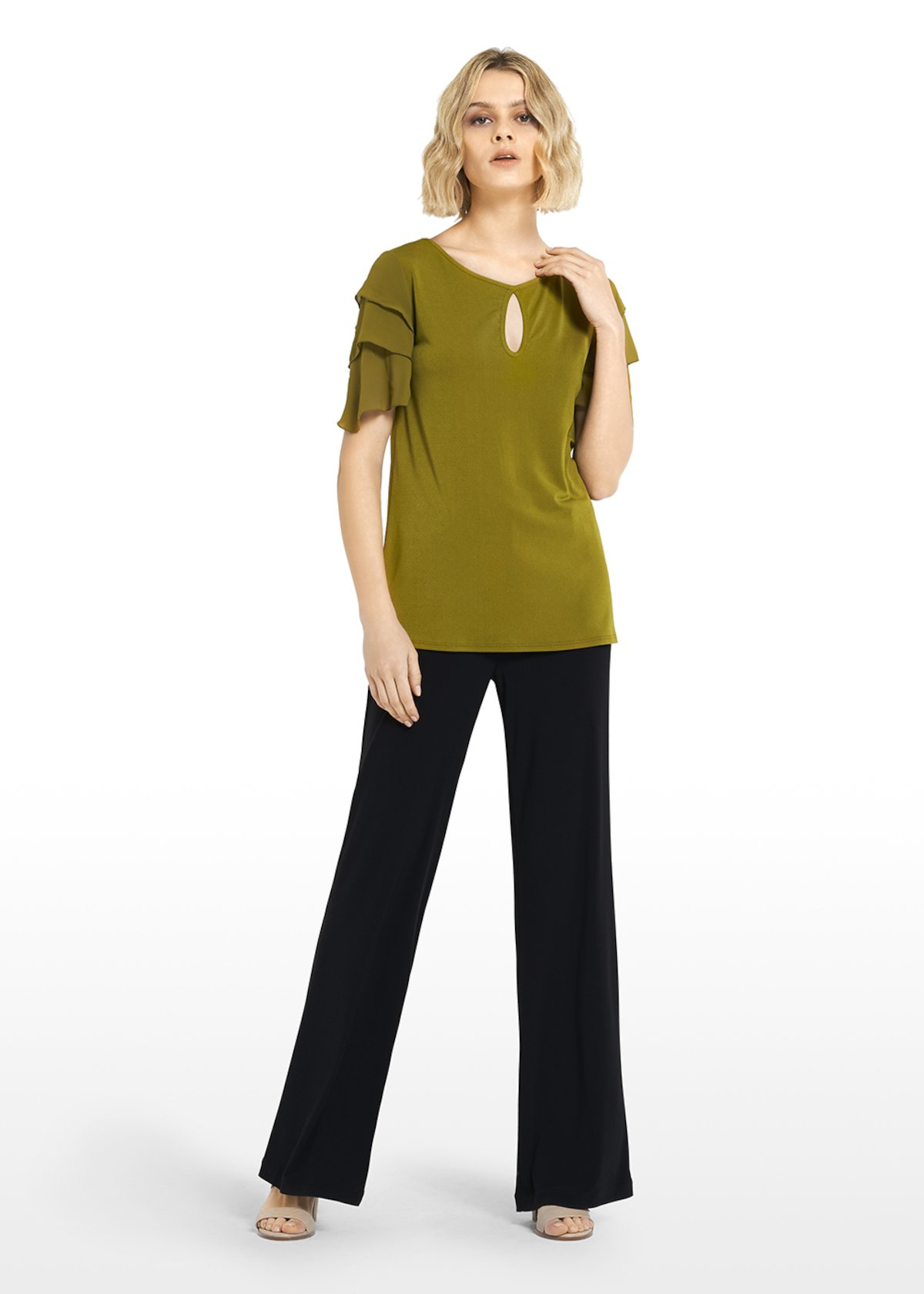Jersey t-shirt with drop-shaped neckline - Avocado - Woman
