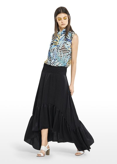 Asymmetric Giady Skirt with maxi flounce on the bottom