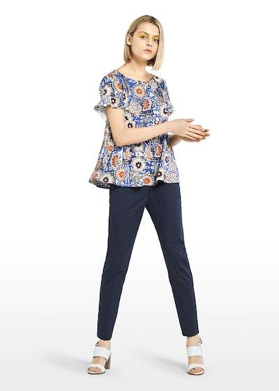 T-shirt Susi con stampa maioliche e rouches