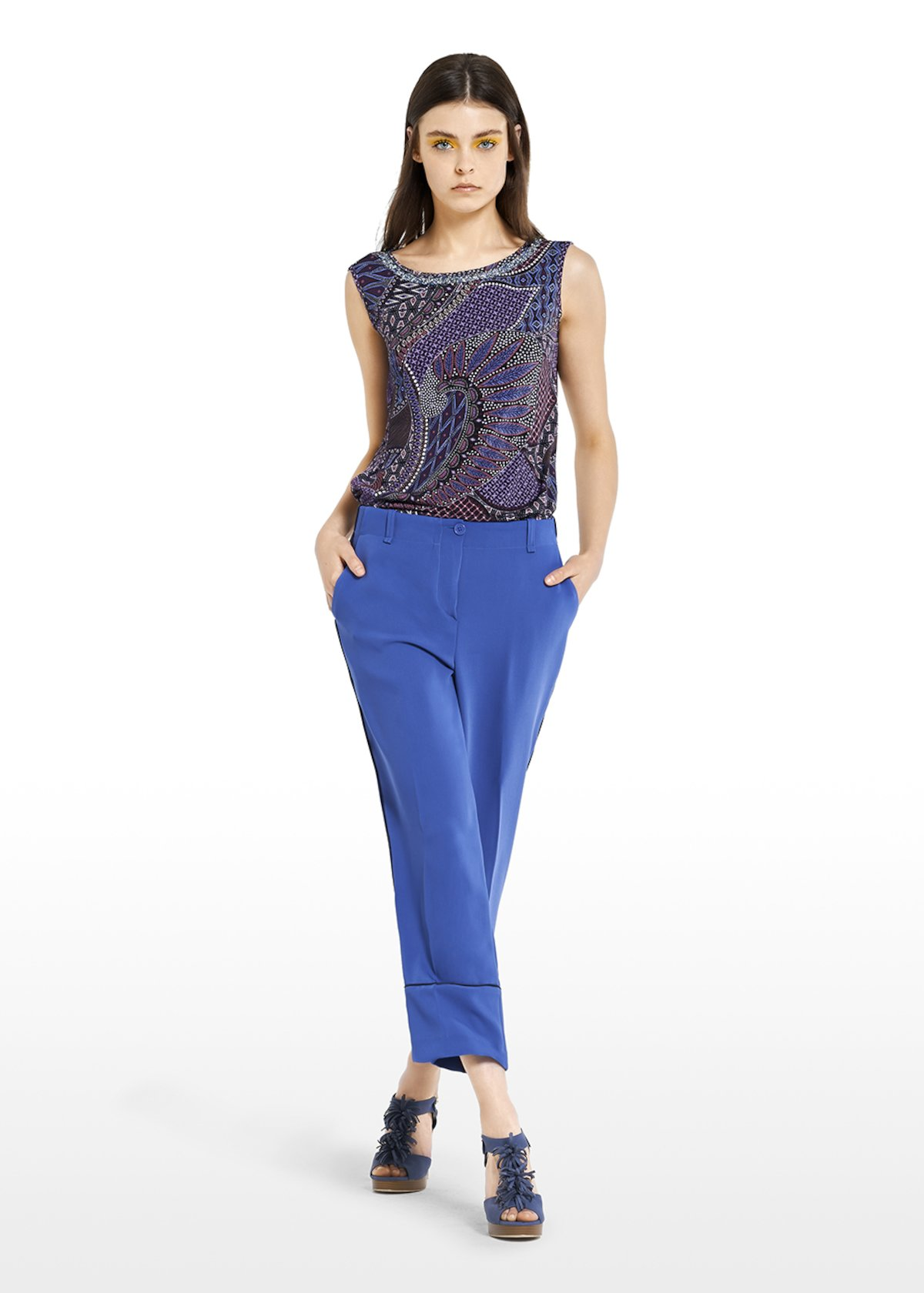 Pako Capri trousers with side piping at the bottom - Lapis - Woman