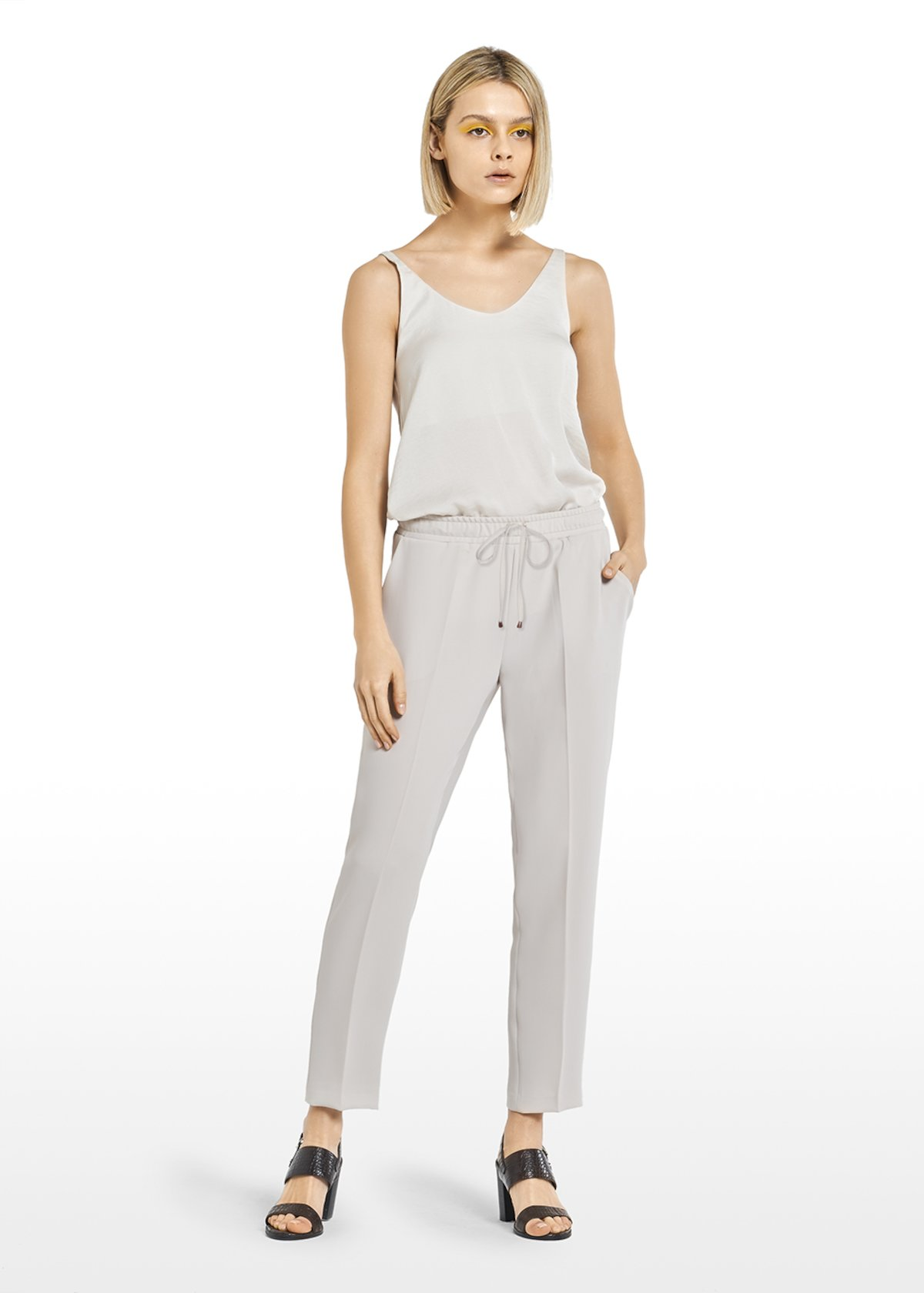 Percy trousers with drawstring waist - Grey-Blue - Woman