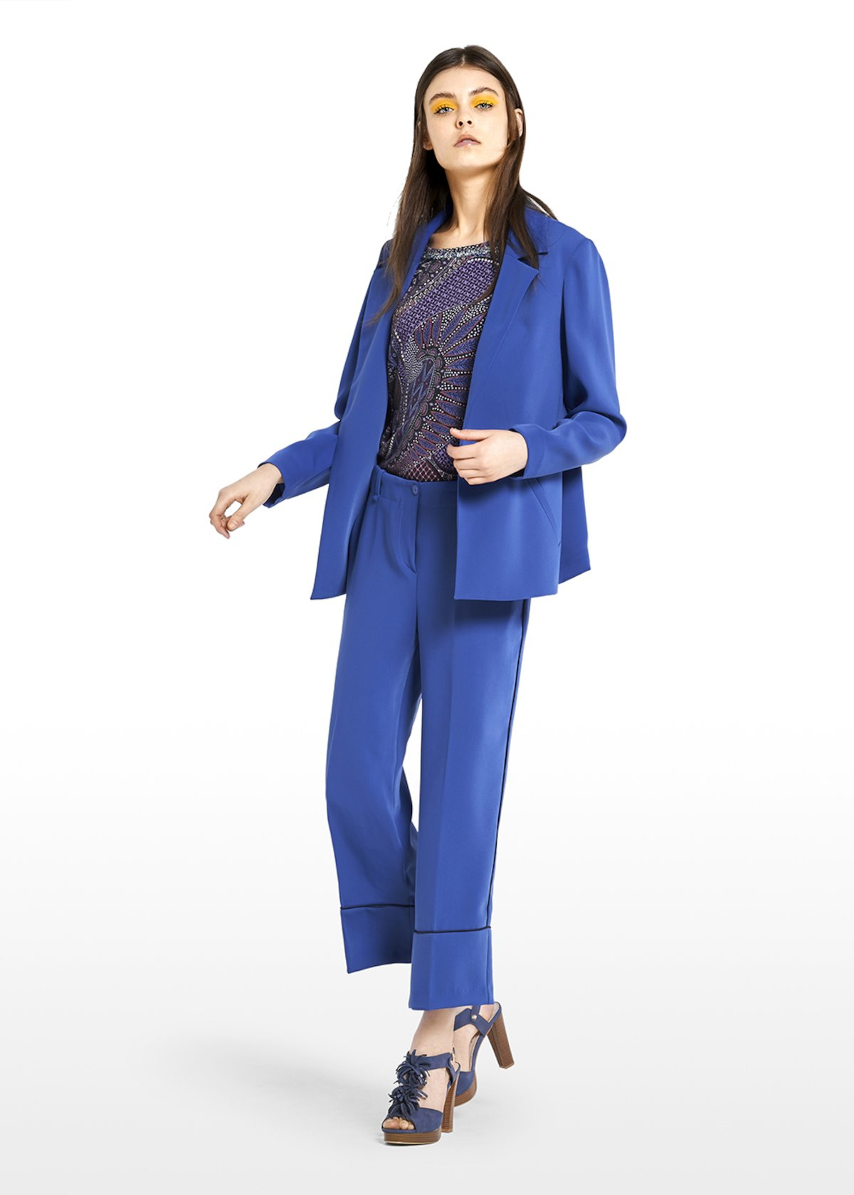 Golia jacket with square edges - Lapis - Woman