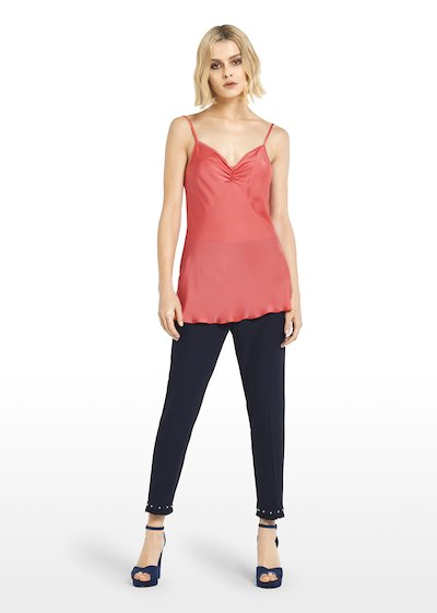 Thil coral Top with pleat detail at neckline
