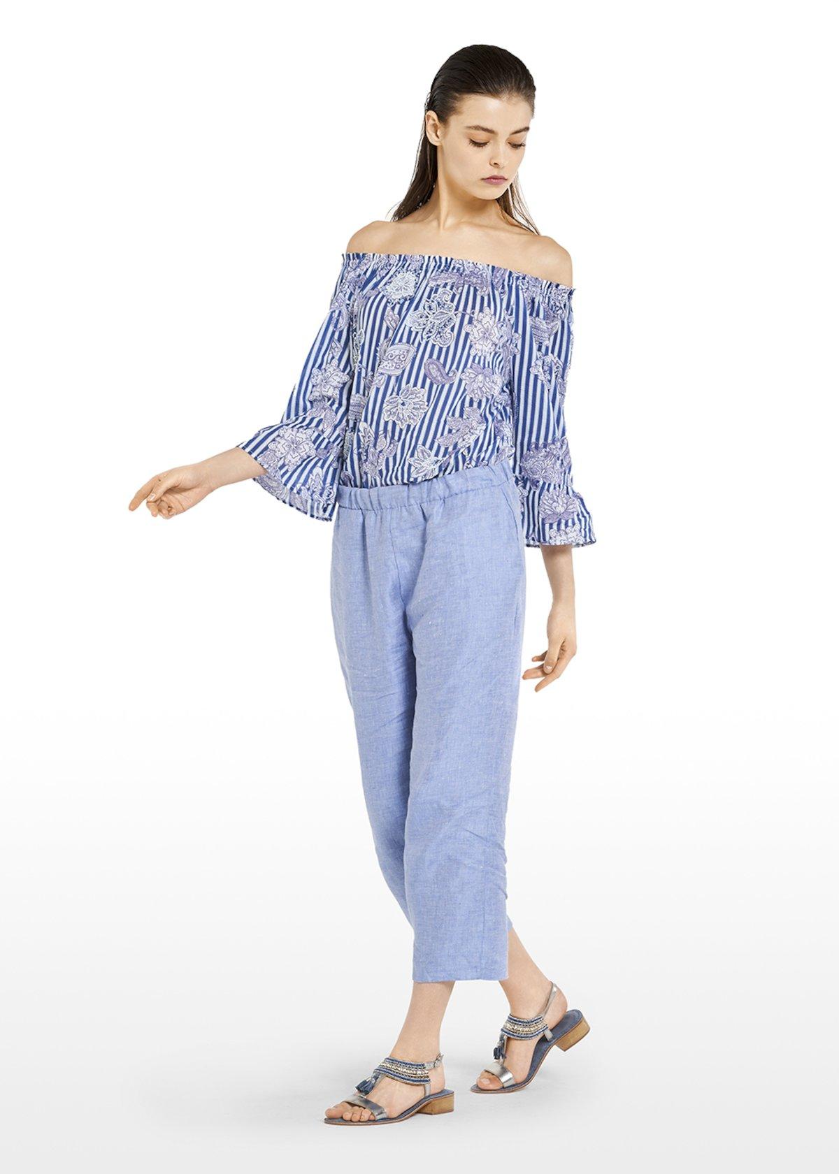 Capri pants Papiro in linen with elastic waits - Light Denim - Woman