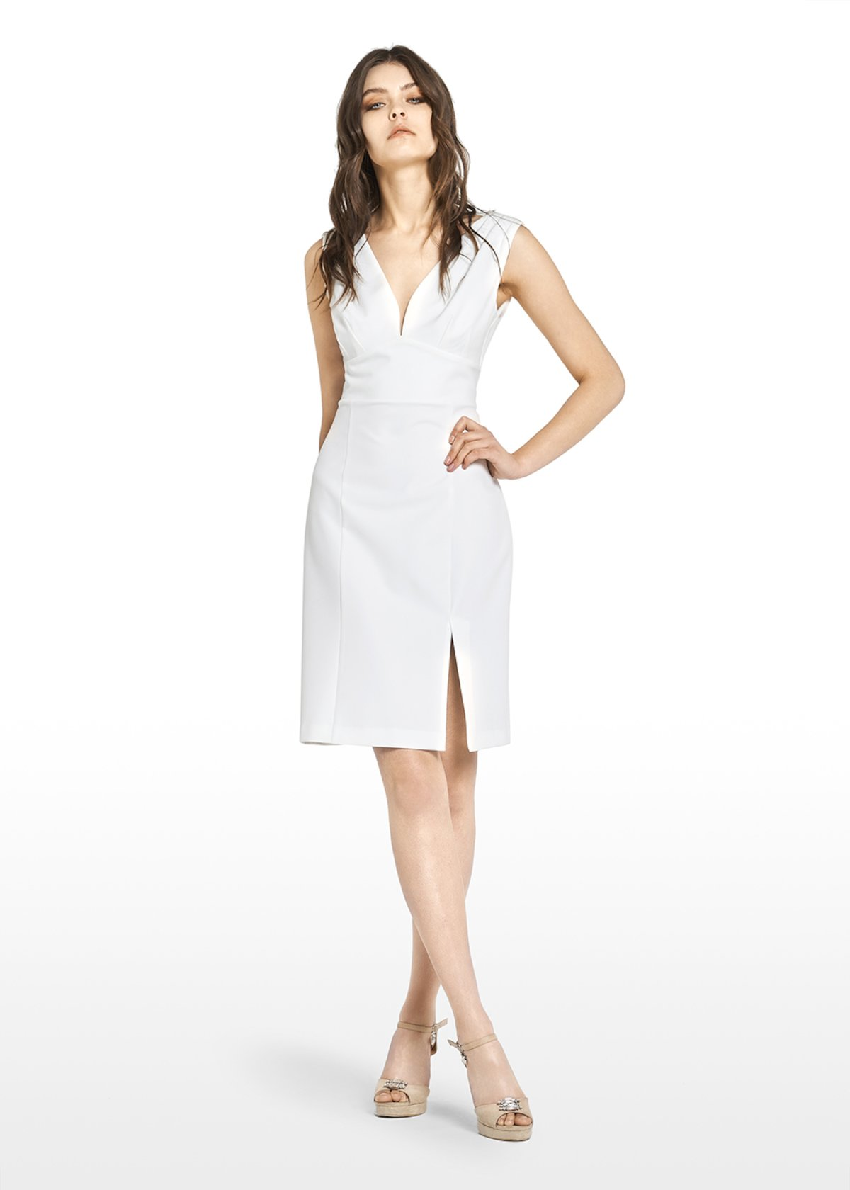 Athos sleeveless dress with V-neck - White - Woman - Category image