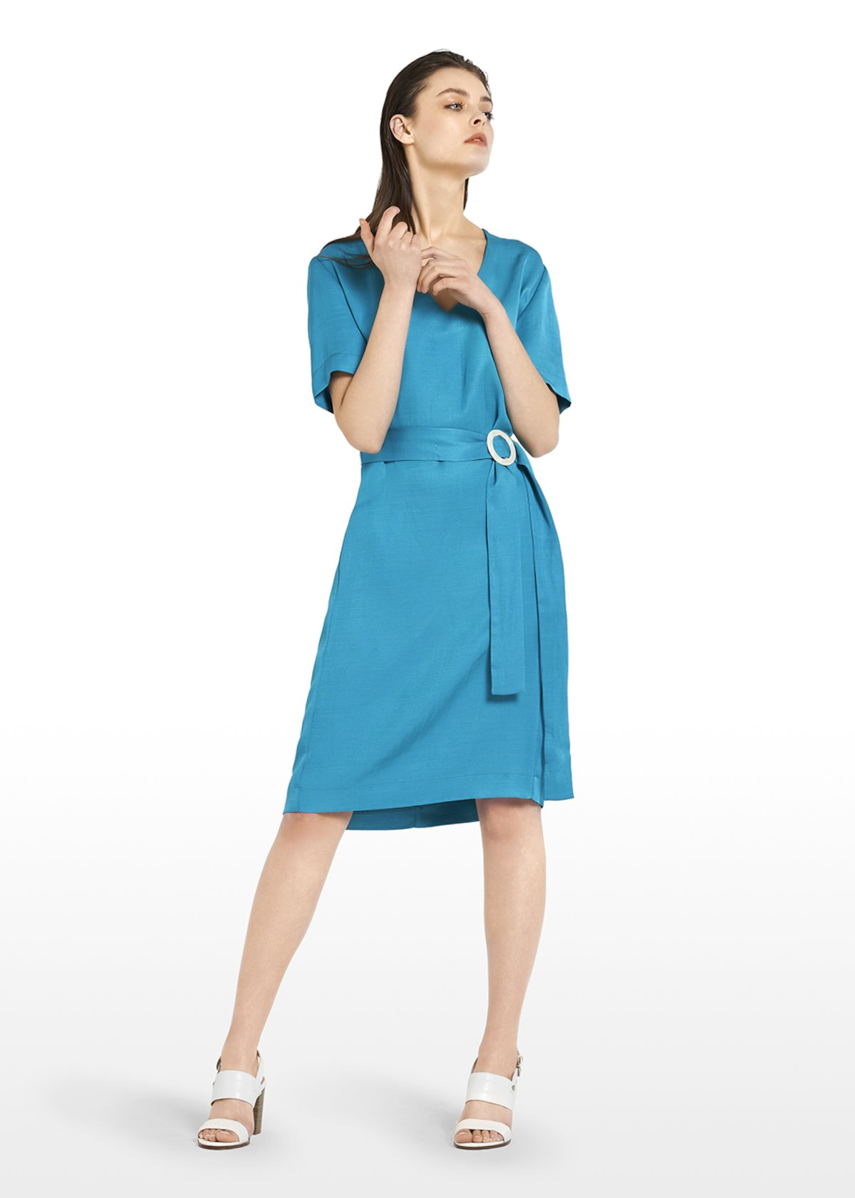 Ajaccio linen dress with V-neck and belt detail - Turquoise_Blue - Woman
