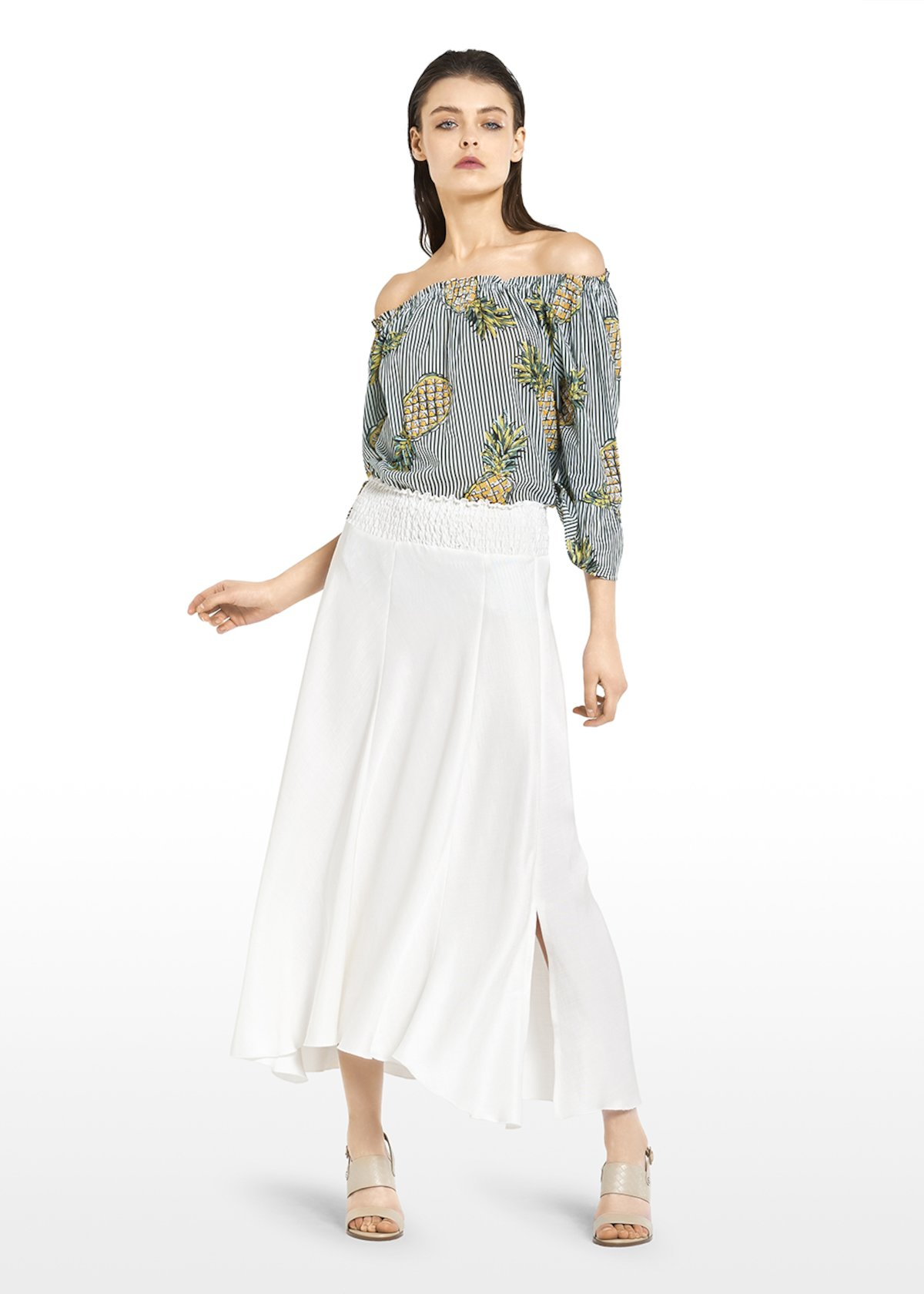 Gregory skirt in linen blend with slits - White - Woman