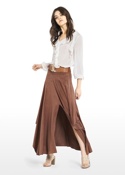 Giada fake suede long skirt with front slit