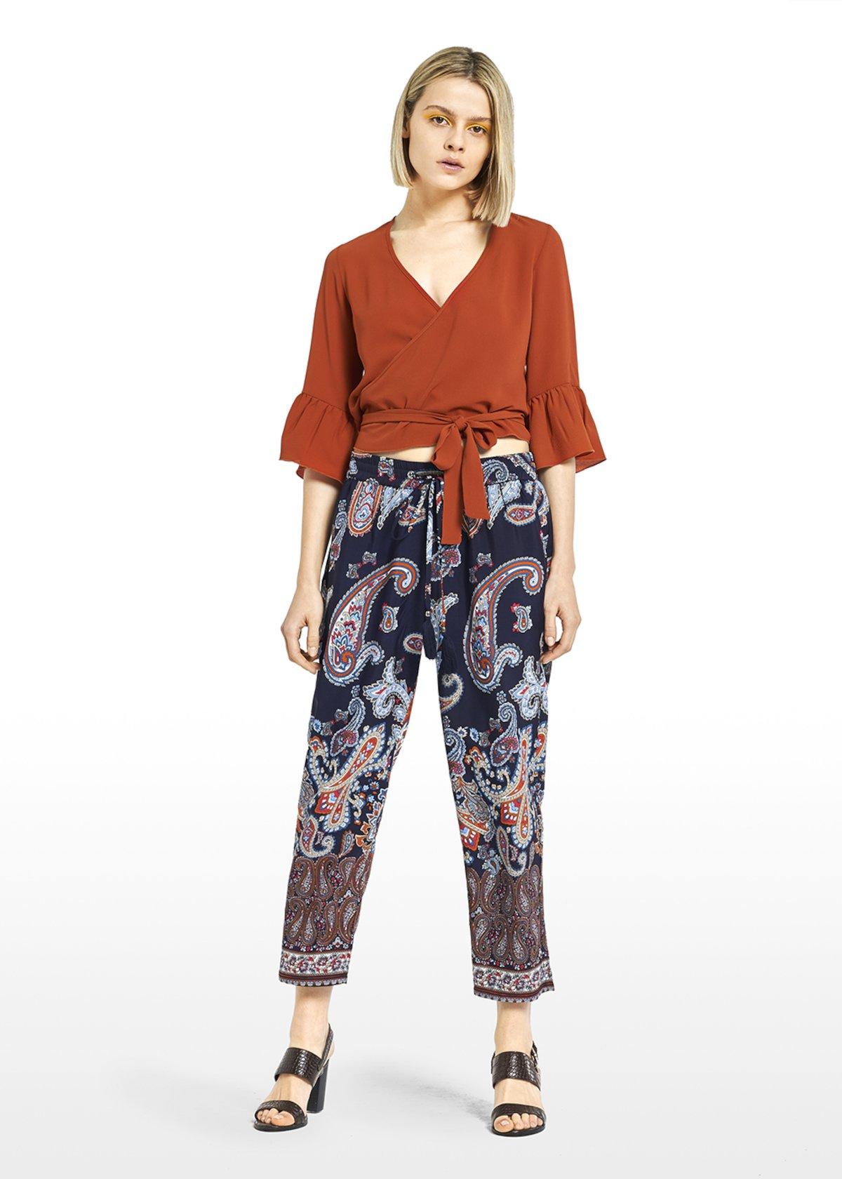Timon T-shirt in a simil satin fabric with ruffles - Carota - Woman