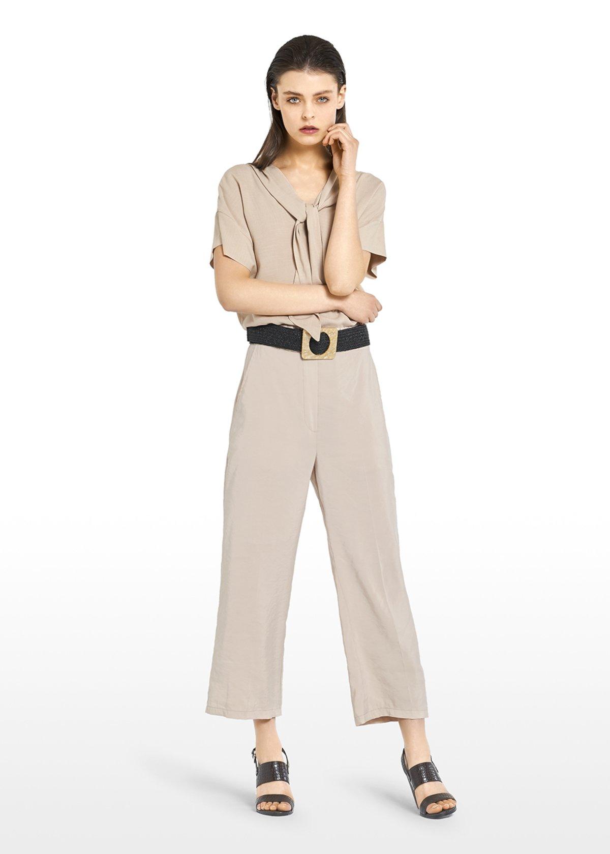 Stella short-sleeved T-shirt with scarf neckline detail - Light Beige - Woman
