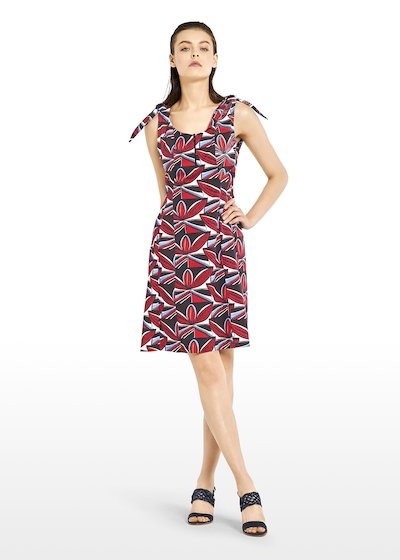 Alan dress in geometric fantasy cotton with knot detail