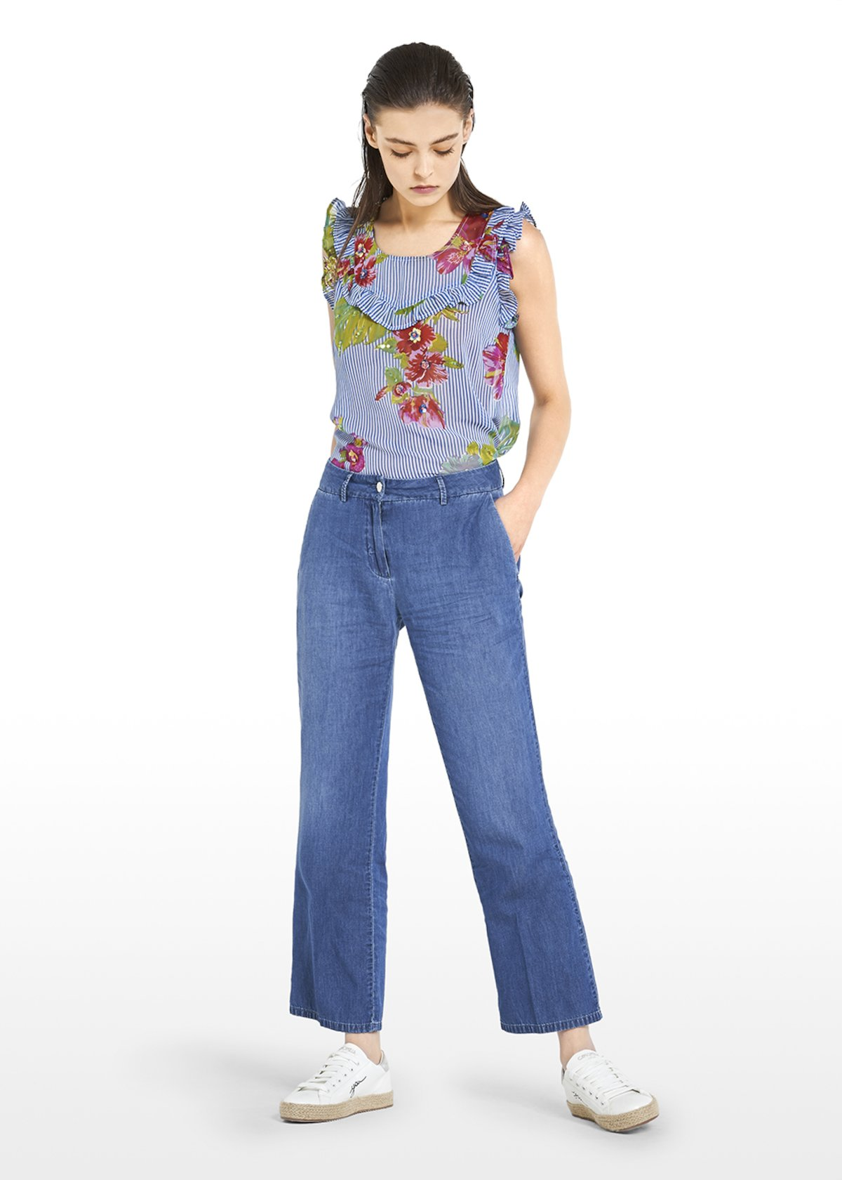 Cropped pants Phyl with small flare on chambrais fabric - Light Denim - Woman