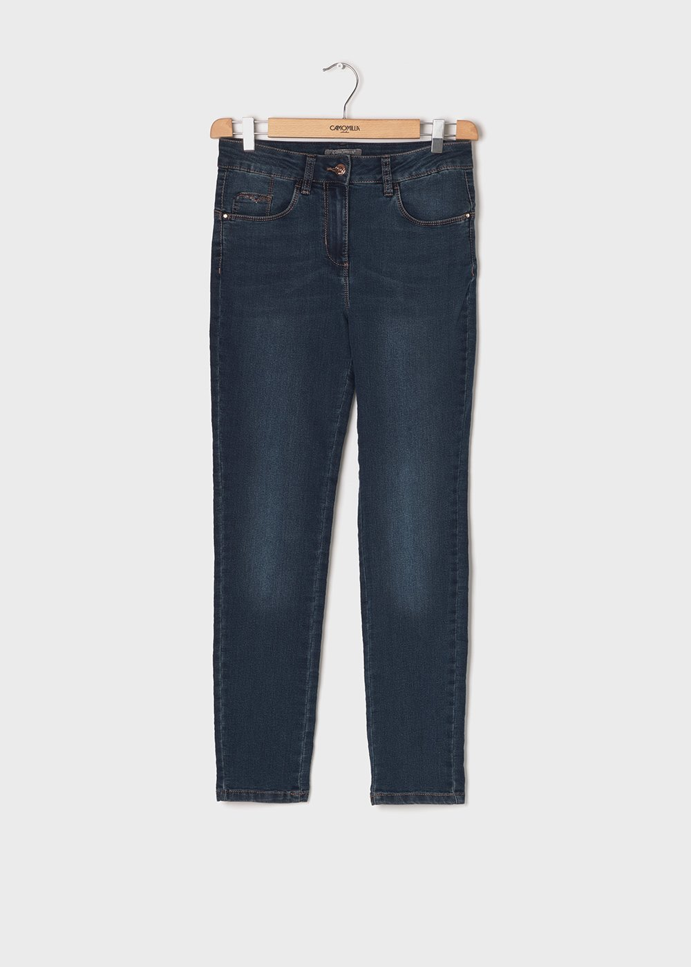 5 - pocket slim leg denim - Medium Denim - Woman
