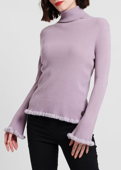 Martina turtleneck sweater with fur-effect border
