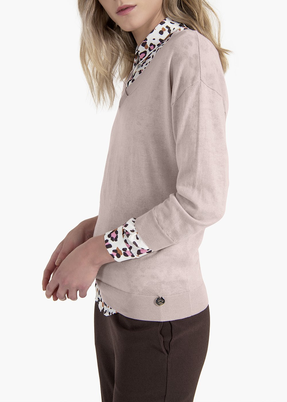 Marilyn sweater with V-neck and 3/4 sleeves - Sepia - Woman