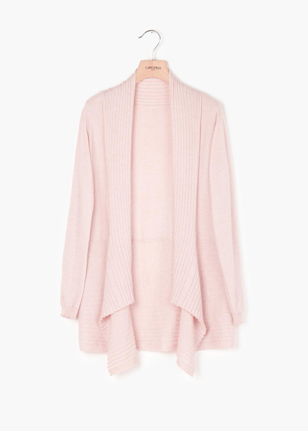 Camil asymmetric cardigan in wool blend - Sepia - Woman