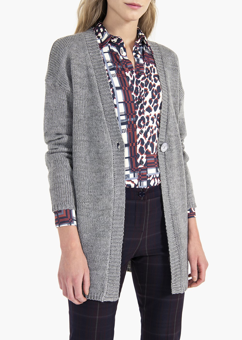 Calyd cardigan in wool blend with V-neck - Light Grey - Woman