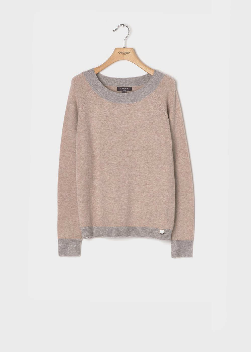 Sweater with mastic-coloured wool and grey contrasts - Mastic - Woman
