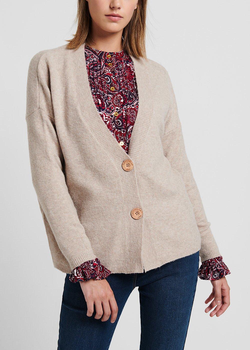 Mastic - coloured wool cardigan - Mastic - Woman