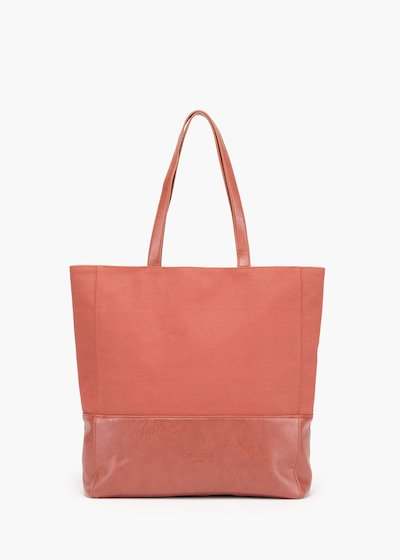 Shopping bag Blake in tessuto canvas con fondo in eco pelle