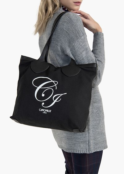 Shopping bag Brenda in canvas ed eco pelle con logo CI