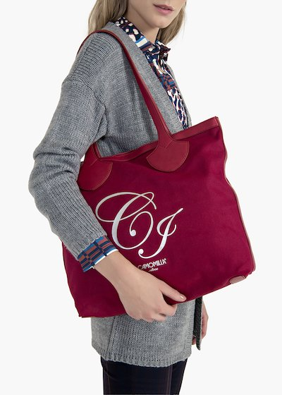 Brenda shopping bag in canvas and eco leather with CI logo