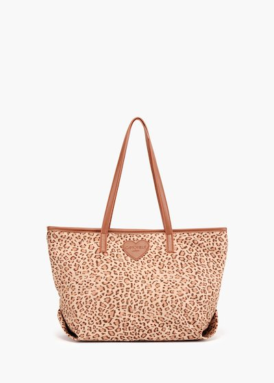Shopping bag Bodel stampa animalier e dettagli in eco pelle