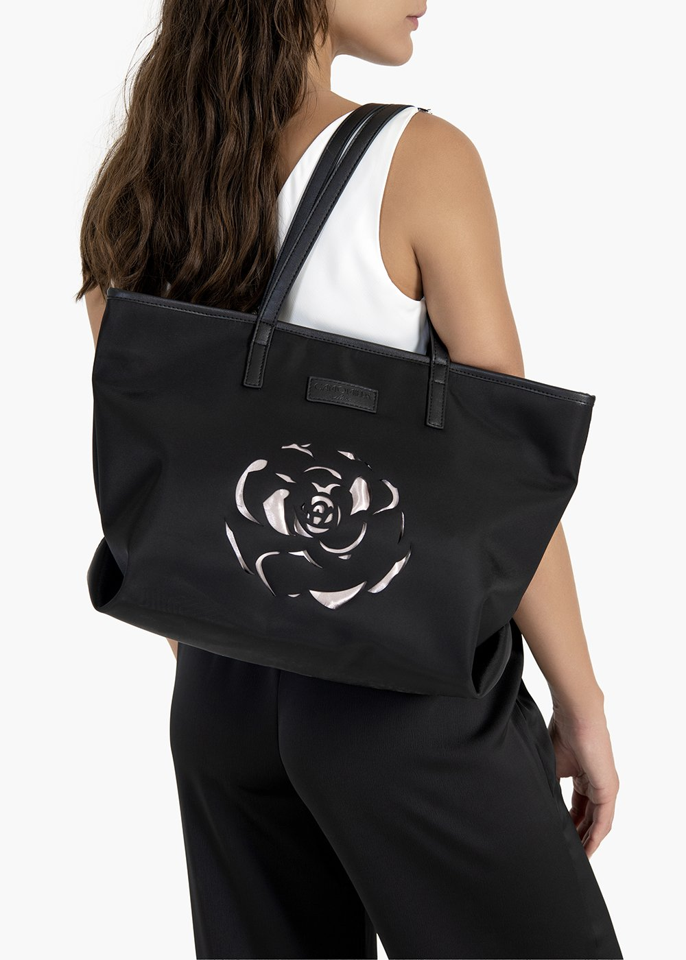 Boly nylon shopping bag with lasered flower detail - Black / Polvere - Woman