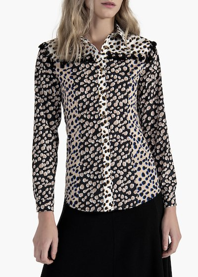 Spotted printed Calor blouse with cotton tassels