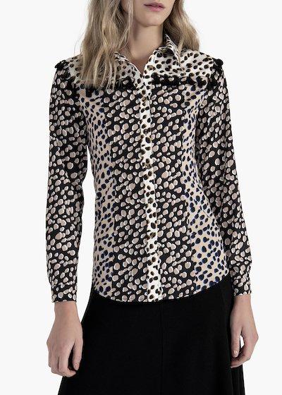 Camicia Calor stampa macula con nappine in cotone