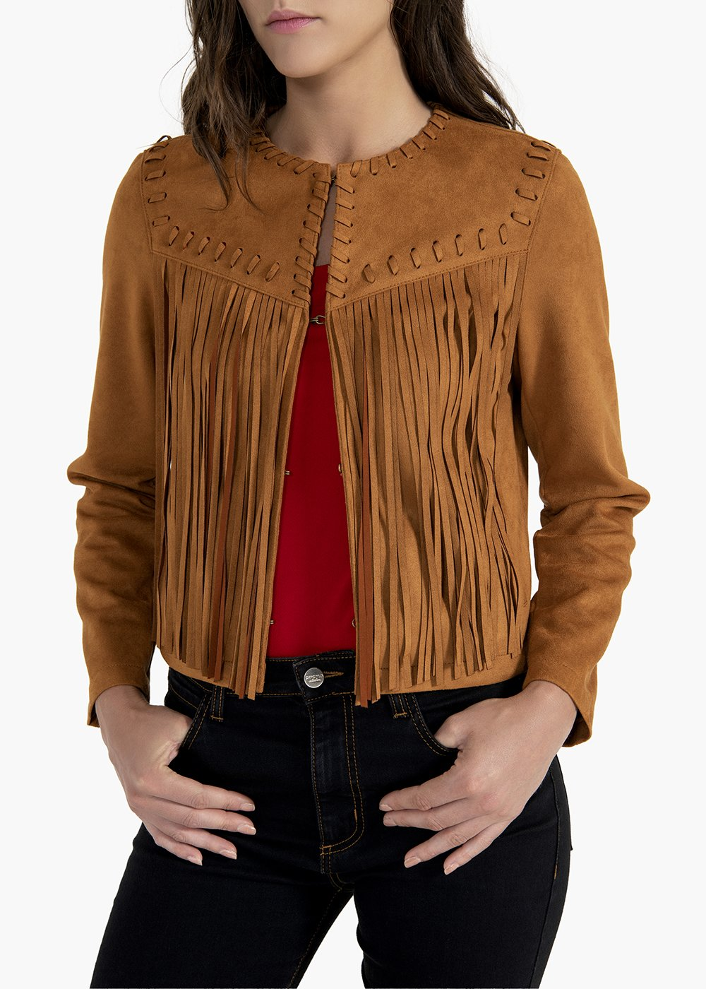 Gary fake suede jacket with fringes on the front and back - Sughero - Woman