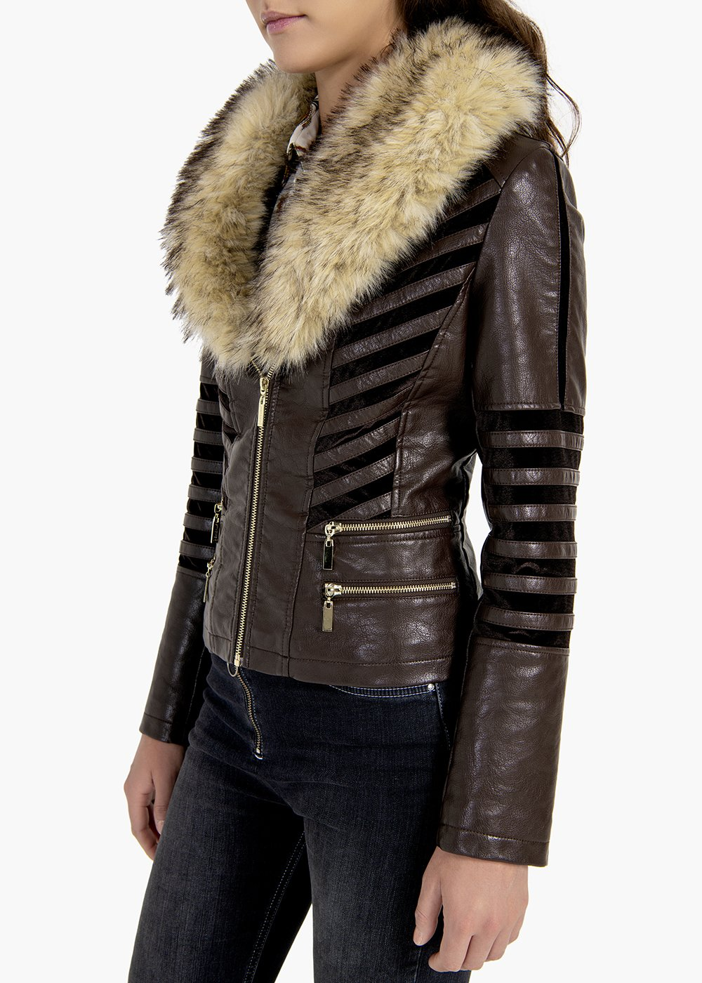 Garcia jacket in eco leather with velvet inserts - Brown - Woman