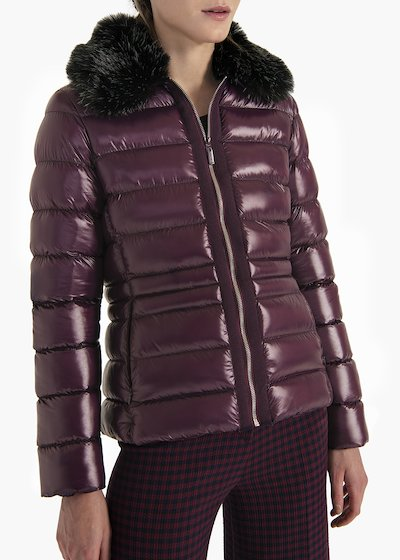 Pearly long sleeve down jacket with faux fur collar