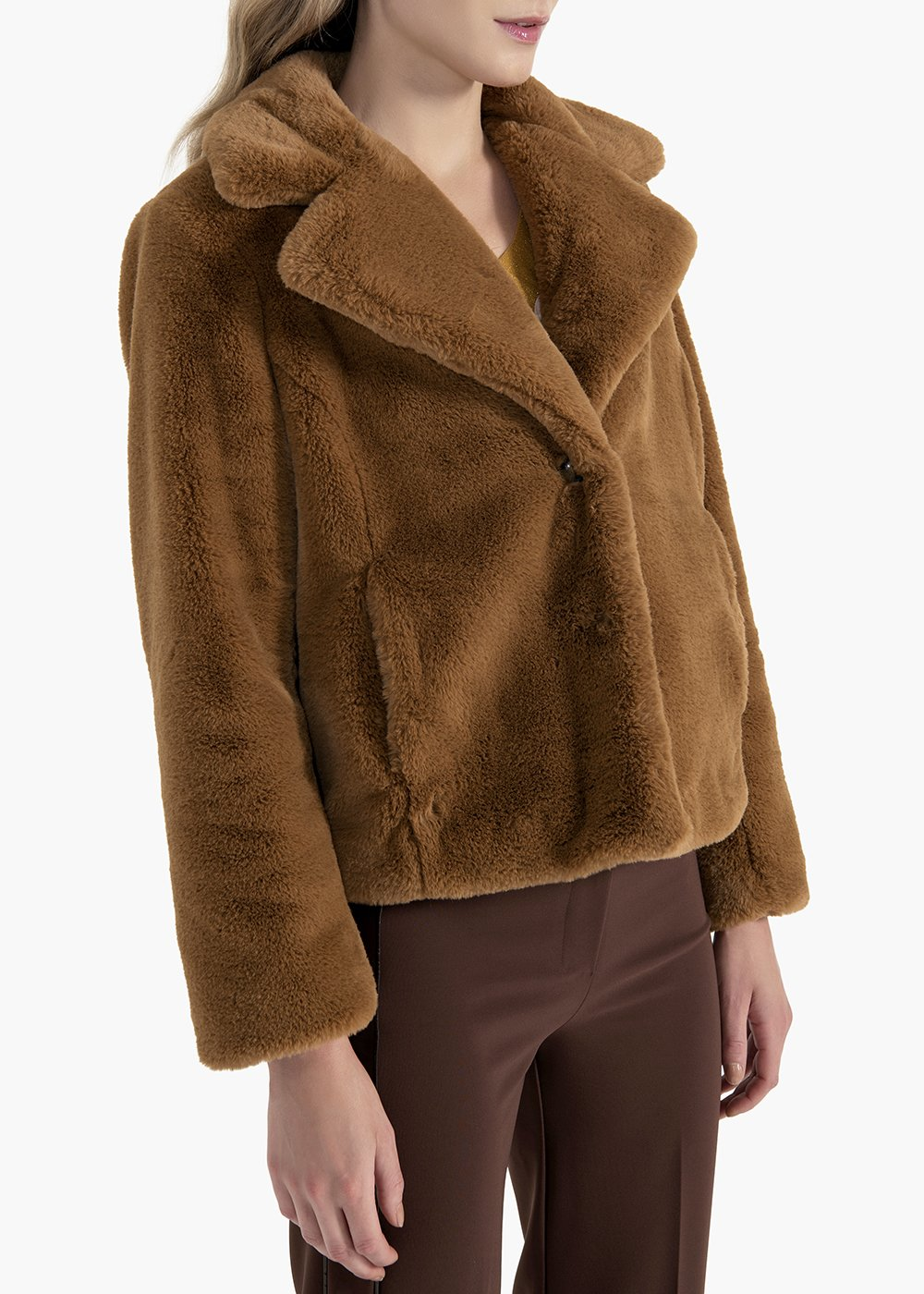 Gimmy short faux fur jacket - Brown - Woman