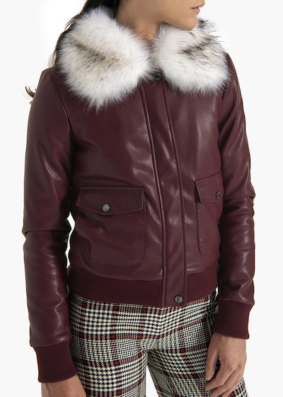 Bomber Jacket Gipsy in faux leather  with eco-fur collar