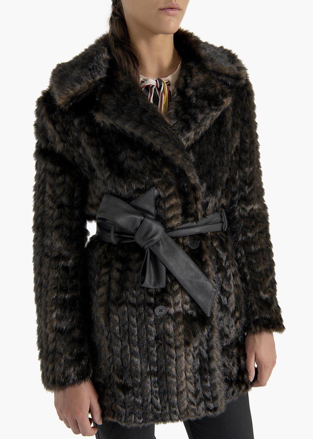 Double-breasted coat Glad in eco-fur mink effect - Brown - Woman