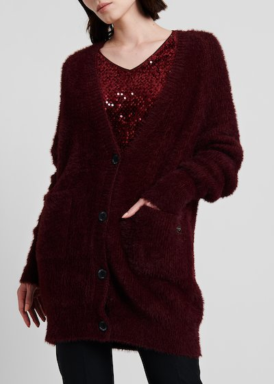 Cardigan with oversize volume in fur - effect fabric