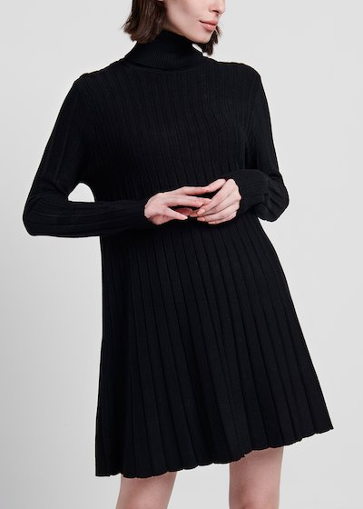 High - collar dress with full skirt