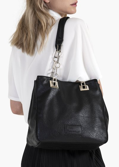 Mini Miss Wrinkled shopping bag in eco leather with chain handles