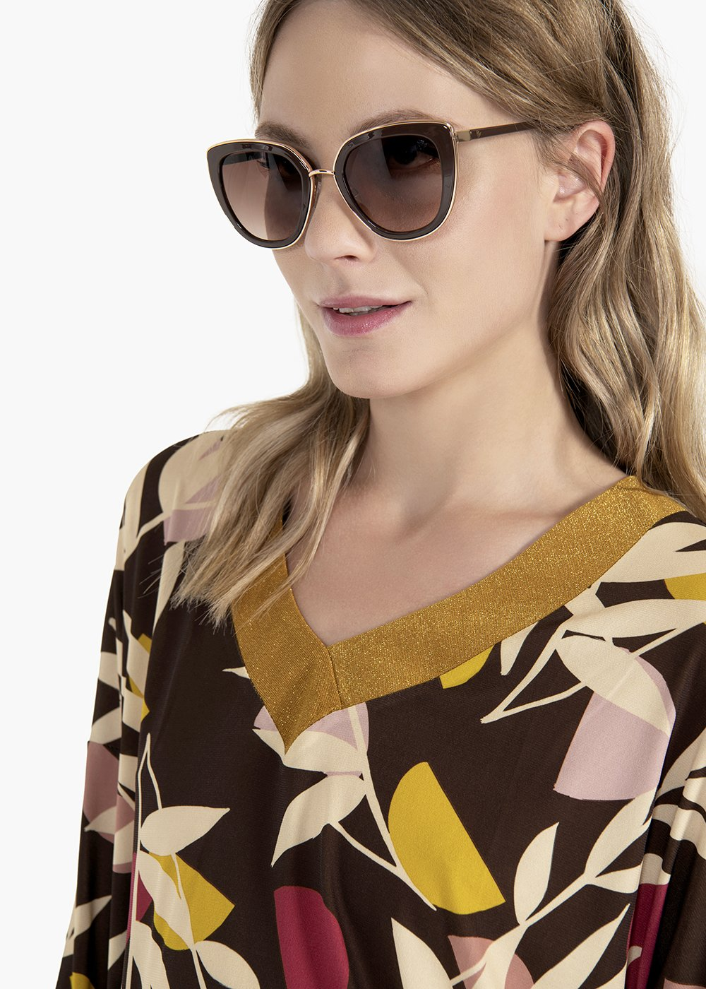 Cat model sunglasses with matching tone - Brown - Woman