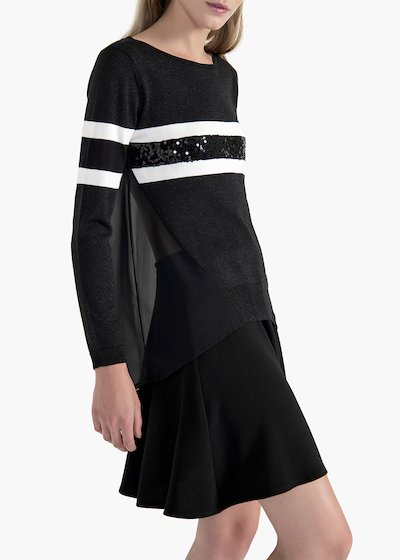 Mandy sweater in lurex viscose with double white line and sequins